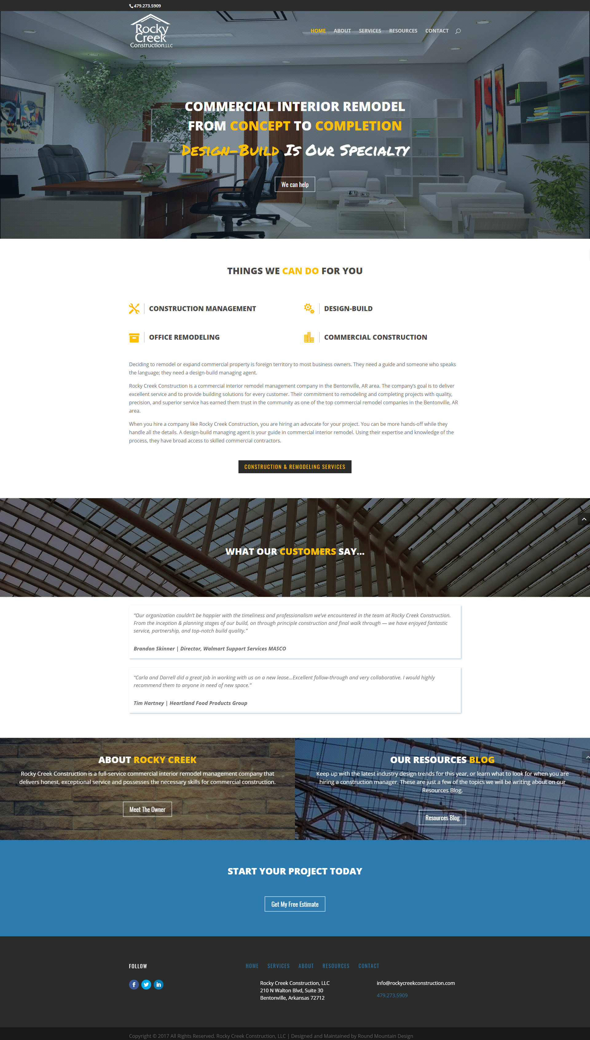 Rocky Creek Construction Website