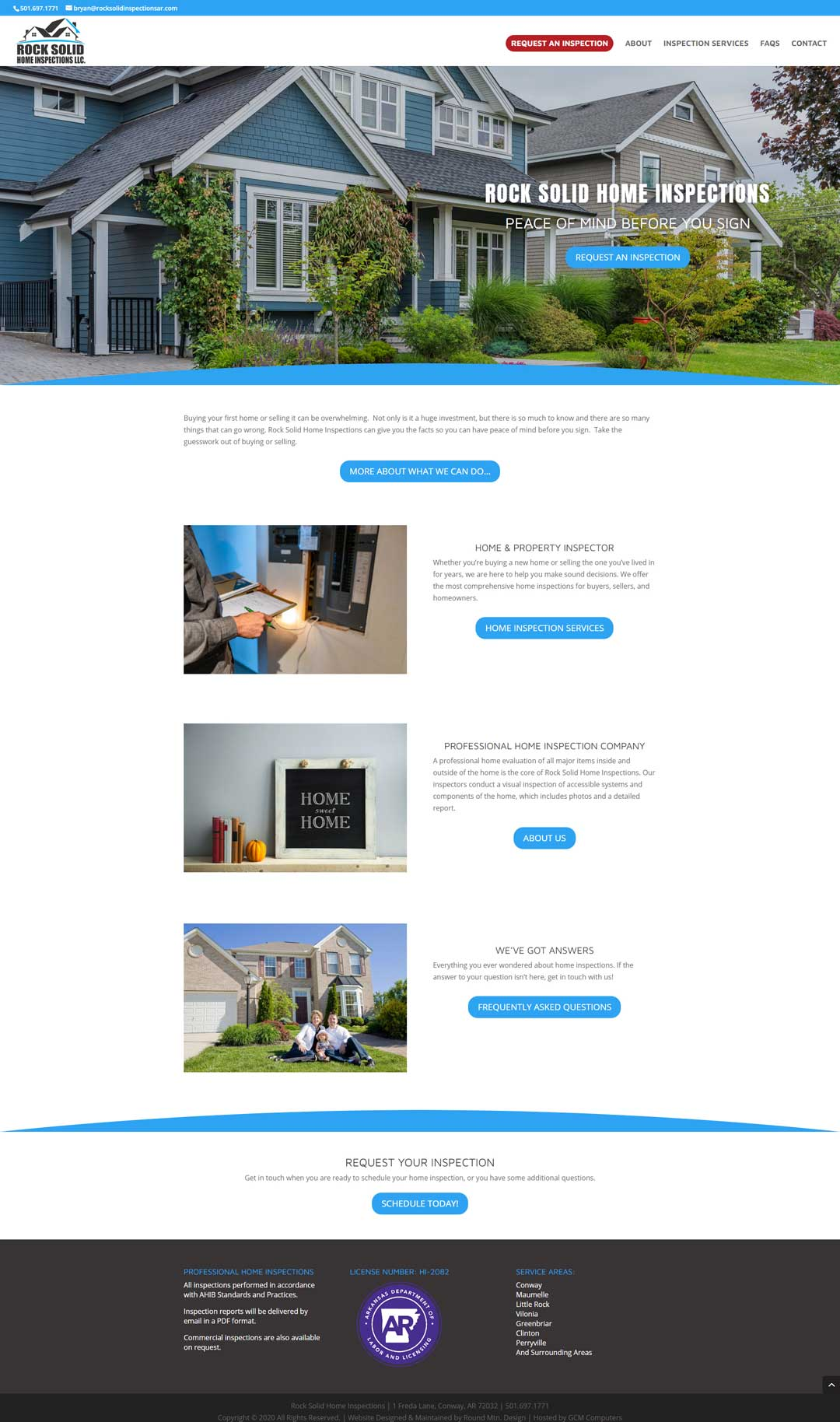 Web development for Rock Solid Home Inspections