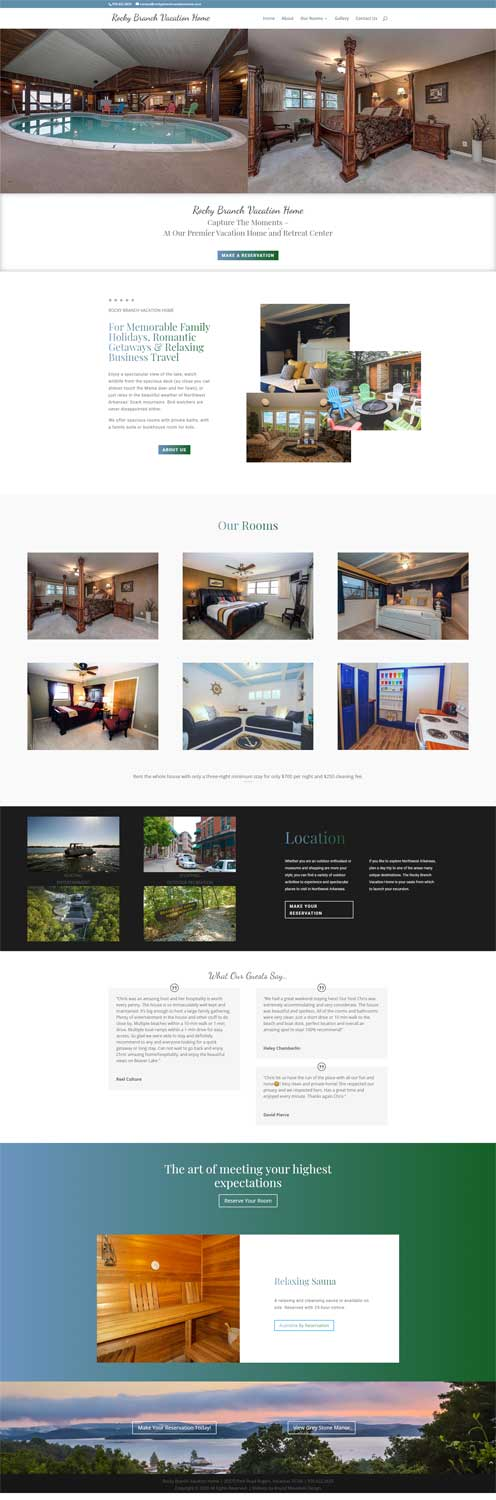 web development for rocky branch vacation home