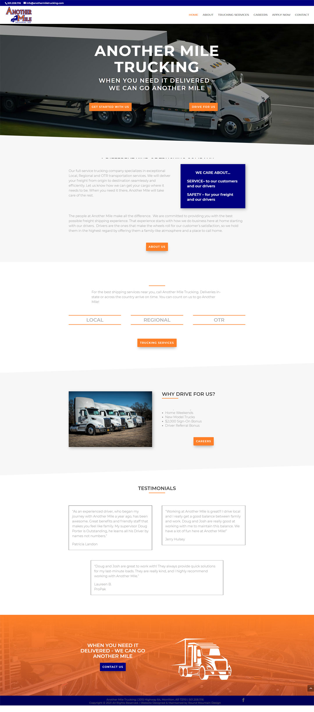 Web Design for Another Mile Trucking